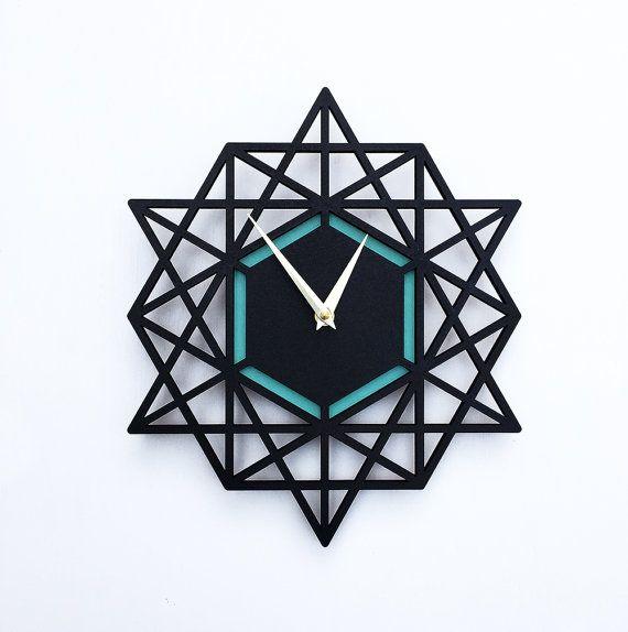 Modern clock, geometric wall clock, 12 x 13 inches, black and aqua, Sacred Geometry