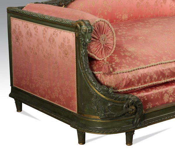Lot: Louis XVI style daybed w/ silk upholstery, Lot Number: 1008, Starting Bid: $1,700, Auctioneer: Great Gatsby's Auction Gallery, Inc., Auction: Day 2 - Private Collections at Auction, Date: February 21st, 2016 EET