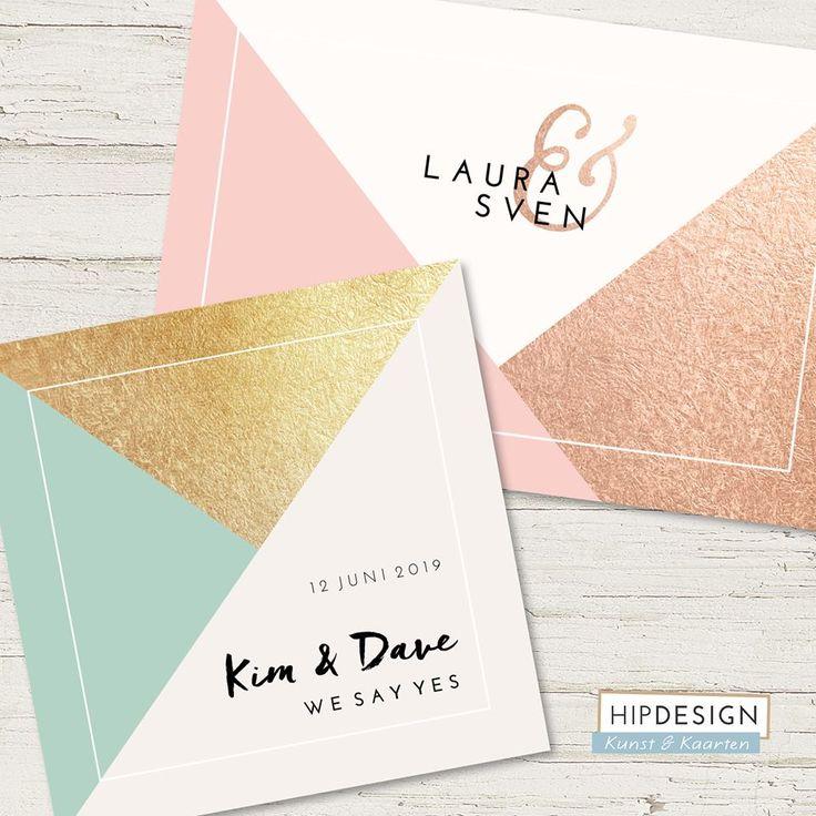 Chique trouwkaarten met metallics en geometrische vormen