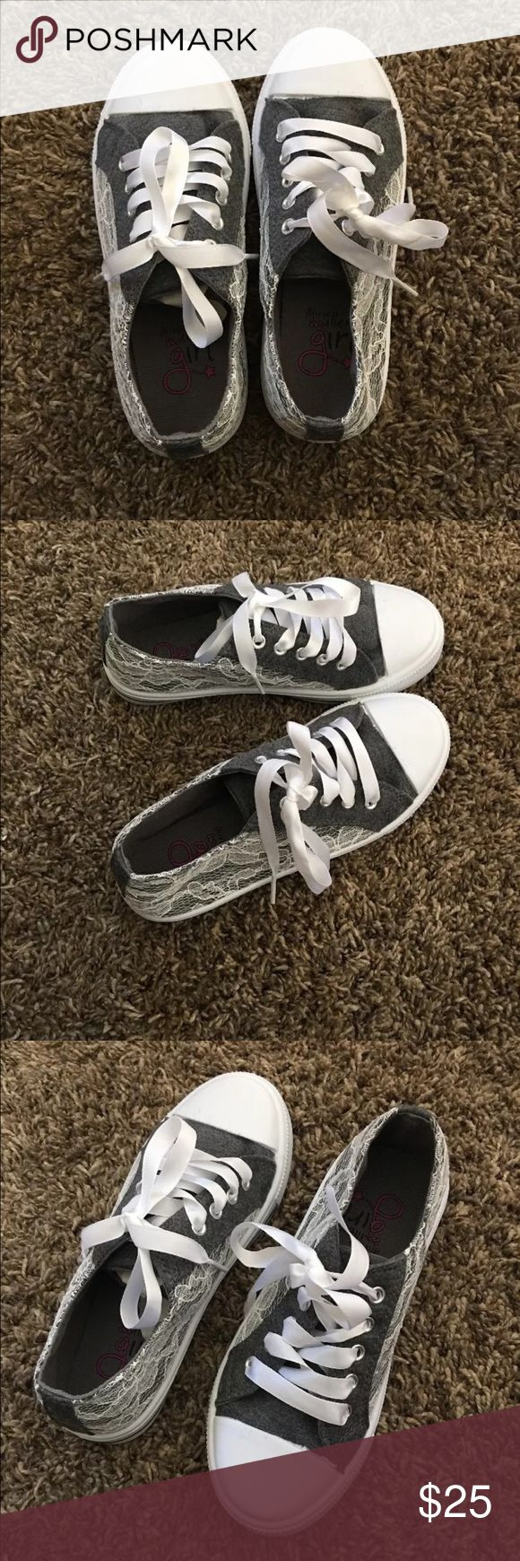 Gray sneakers for girls. Size 13.New in box Looks very cute gray sneakers with white flower lace decorative in size 13. Brand new with box( box without lid) Please see pictures and let me know if you have any questions.  Thanks for looking. Olivia Miller girl Shoes Sneakers