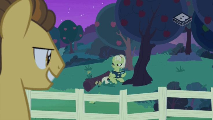 #1467631 - angry, animated, book, boomerang (tv channel), grand pear, granny smith, safe, screencap, spoiler:s07e13, the perfect pear, tsundere, younger - Derpibooru - My Little Pony: Friendship is Magic Imageboard
