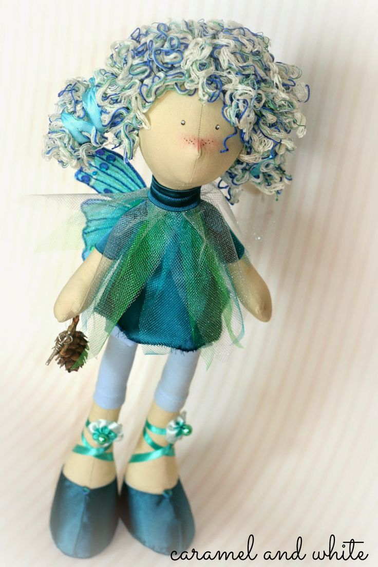 fairy with wings doll handmade by Ania.caramel and white