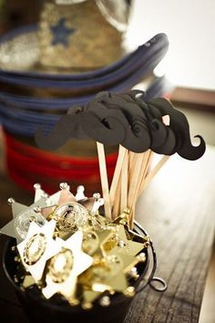 Cowboy birthday party ideas. Love these cute sheriff's badges and mustaches!