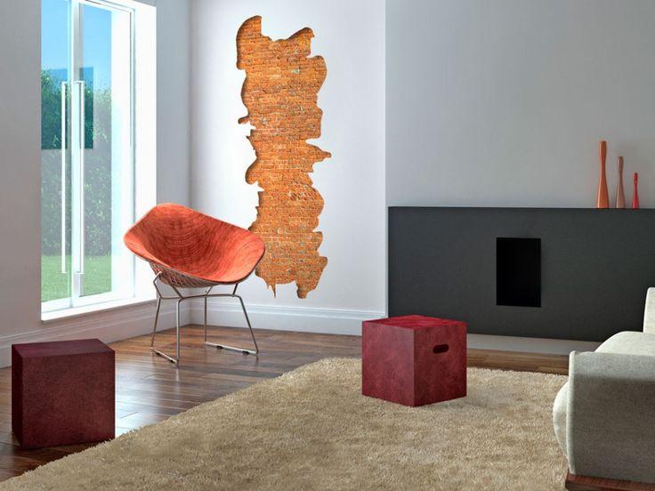 Vinilo decorativo: ilusión óptica pared de ladrillos vistos. Pegatinas autoadhesivas de bimago. ¡Amplia oferta de diseños!