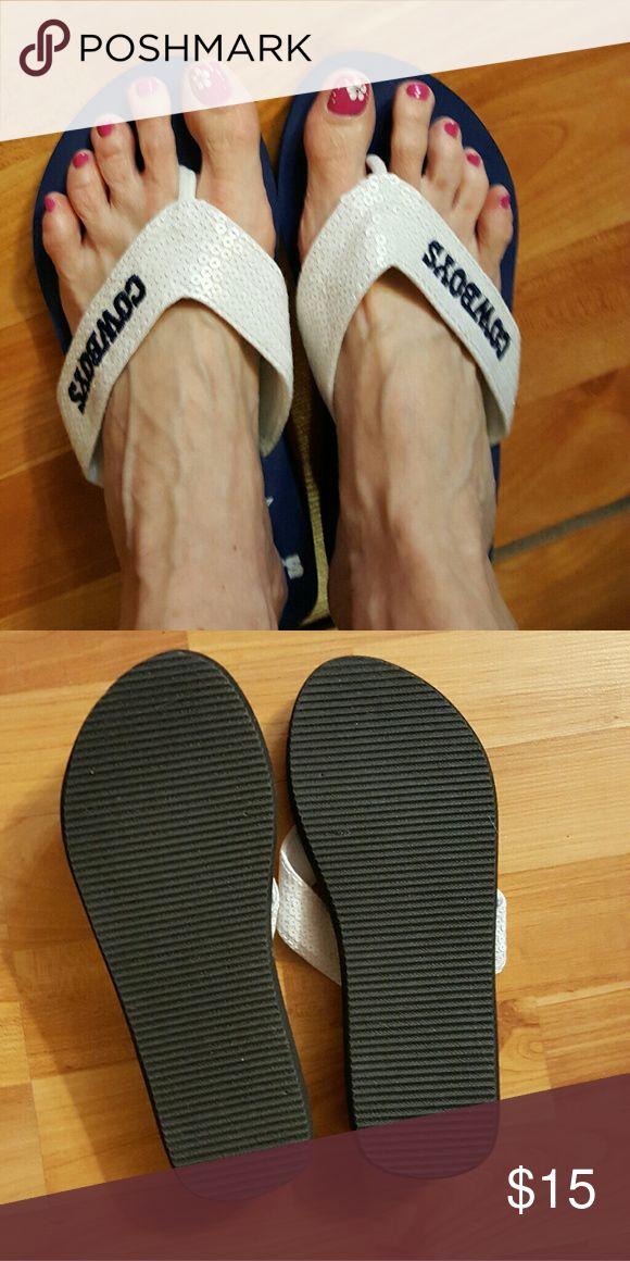 Ladies Flip Flops NWOT. Dallas Cowboys flip flops. Never worn. Great condition. Shoes Sandals