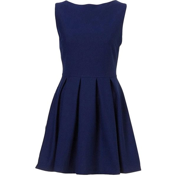 Navy; sleevelessboat neck; natural waistpleated; fully linedconcealed zipper closure at backslim fit43% wool; 57% terylenedry clean