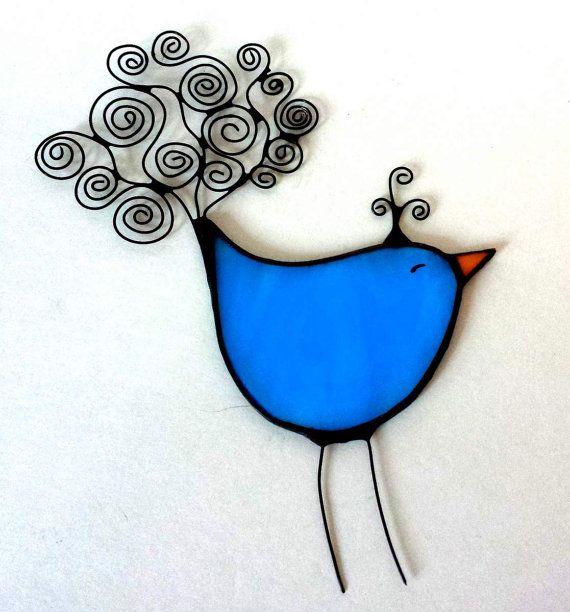 Stained glass BIRD ornament suncatcher BLUE by CreativeGlassStudio