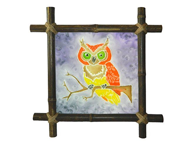 Owl painting Bird painting Rustic decor Nursery decor Kids painting with Bamboo Frame Rustic decor Batik Silk painting Baby Framed painting fabric Baby shower gift art Artwork Kids room decor