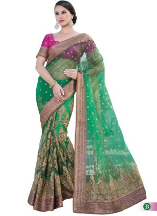 Fantastic Green Net Embroidery Stone Work Designer Saree http://www.angelnx.com/Sarees#/sort=p.date_added/order=DESC/limit=32/page=57