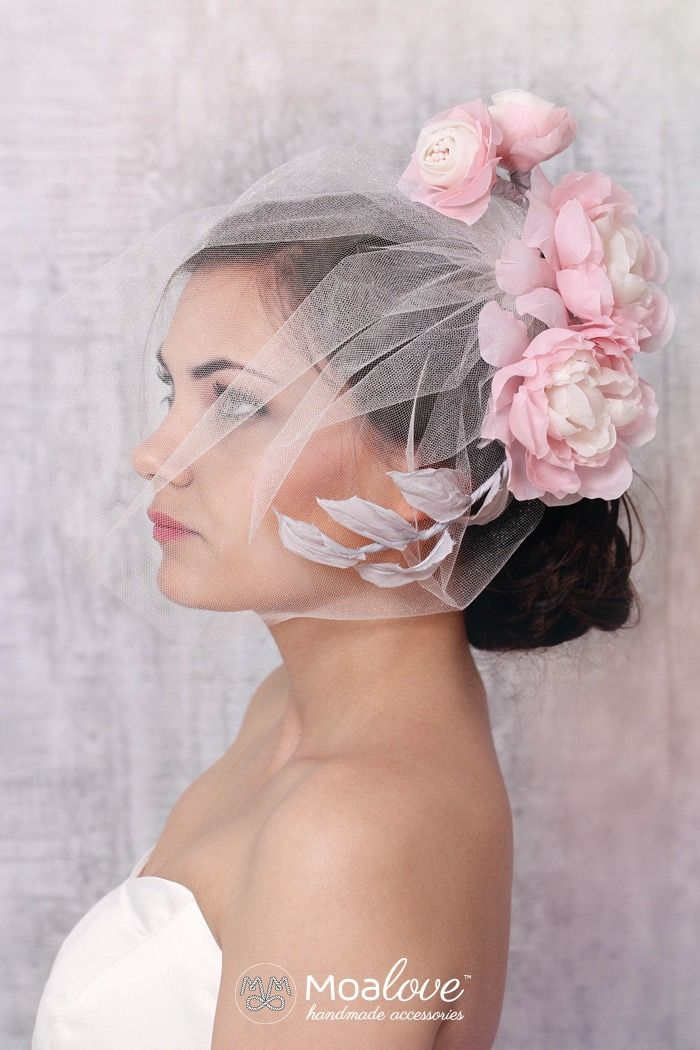 Ginny | silk flower headpiece with veil - set - MoaLove Accessories