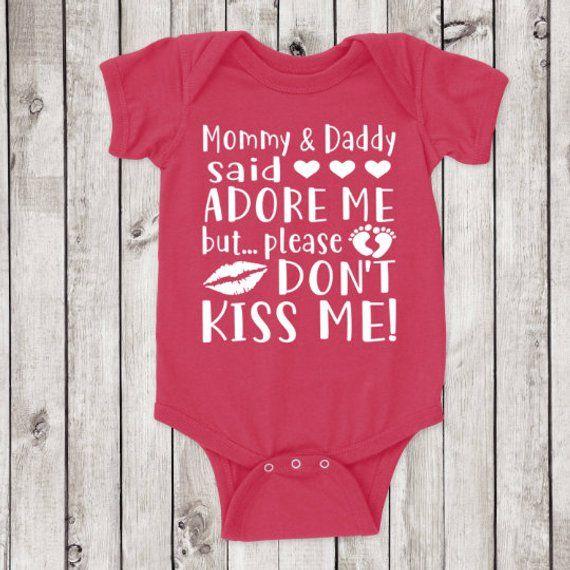 Keep me Germ free no kisses germs lips onesie bodysuit baby
