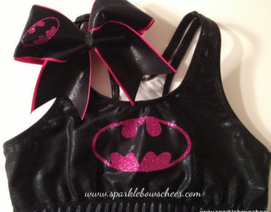Pink sparkle batman cheer bow and sports bra
