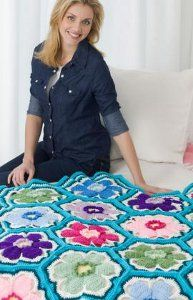Bright Posies Crochet Throw: Crochet Blankets, Crochet Afghans, Free Pattern, Free Crochet, Red Heart, Crochet Throw, Posey Throw, Crochet Patterns, Crochet Flowers Patterns