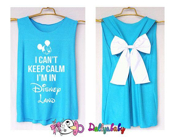 I'can keep calm i'm at Disney world Mickey Tank Premium with Bow : Tank Top - Bow Shirt - Razor Back Tank, Children bow, Kid tank