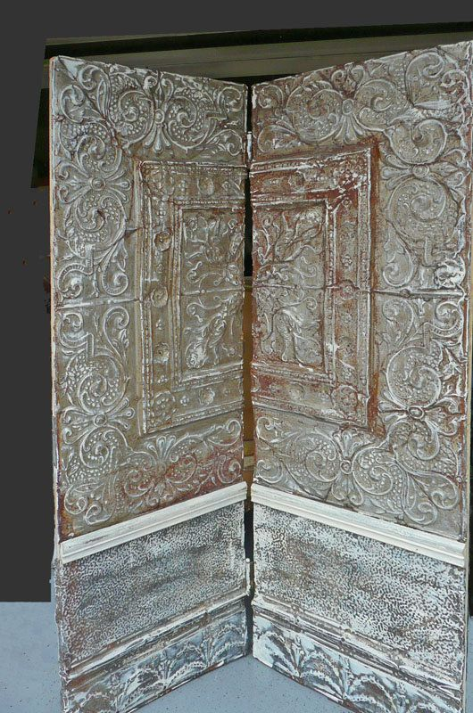 salvaged pressed tin room divider screen art