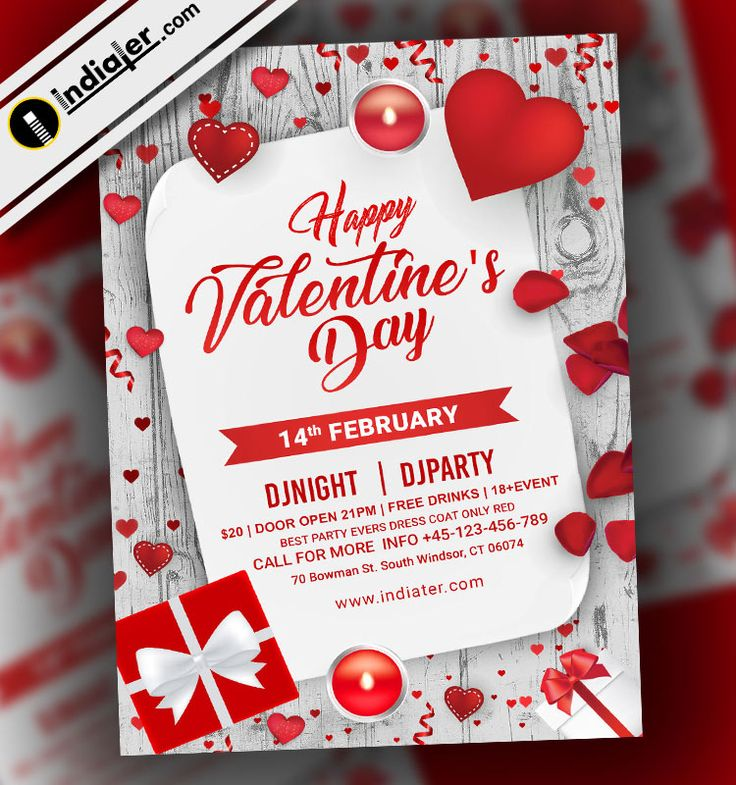 Free PSD Flyer for Happy Valentineu0027s Day