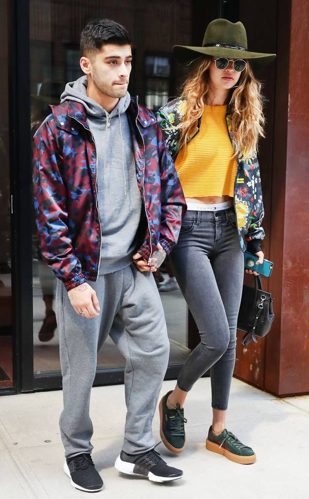 8d4f88fe1a Showing Some Street Style from Gigi Hadid and Zayn Malik's Cutest Moments  Always the fashionable duo, the couple depart from Hadid's New York  apartment ...