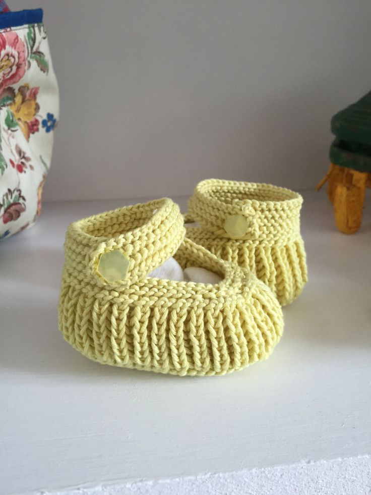 Handknit Baby Booties, Yellow Cotton Infant Shoes, Lemon Mary Jane Pram Shoes, Baby Shower Gift, 0-3 months, ,Cotton Booties, New Baby Gift by JCLeecollection on Etsy