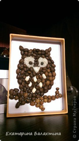 Картина панно рисунок Ассамбляж сова Кофе фото 1