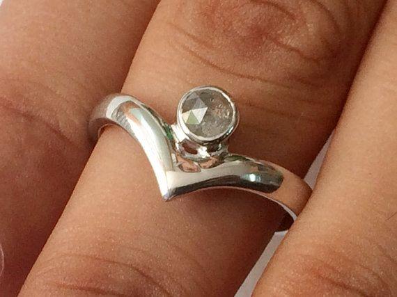 Diamond Ring Light Grey Rose Cut Diamond Ring 925 by gemsforjewels