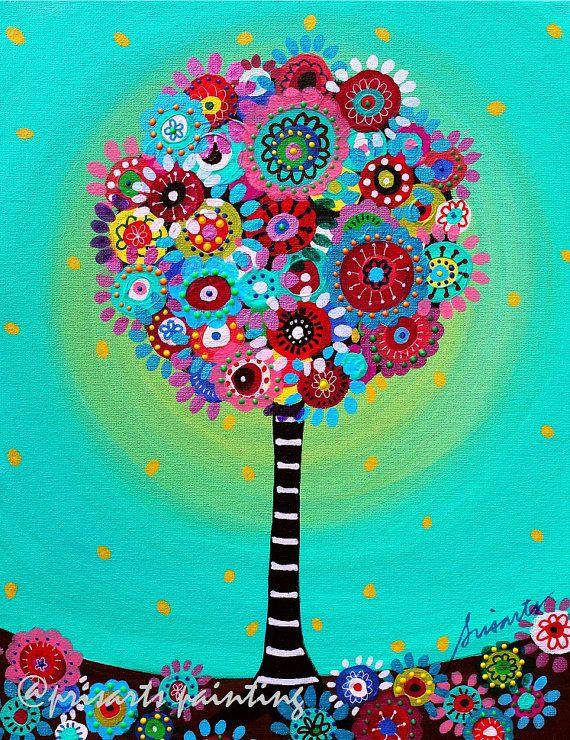 Arte popular prístina árbol de vida caprichosas coraje por prisarts
