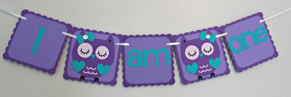 Owl Highchair Banner/ Owl Party/ I am one/ I am by Klutterella