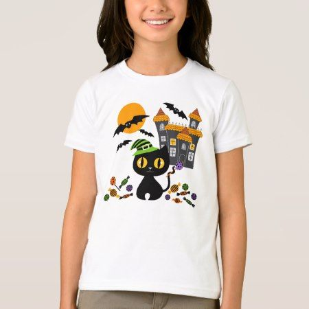 Black Kitty Halloween Girls T Shirts - tap, personalize, buy right now!