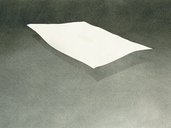 Ed Ruscha This look like a piece of paper floating its great that its in black and white. Its great that you see this a lot it most peoples work.