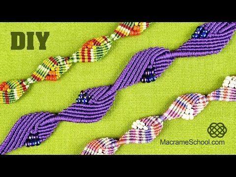 Diamond Leaf Bracelet - Macrame Tutorial - YouTube