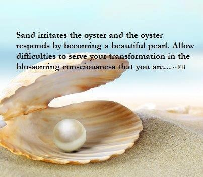 Pearls of wisdom...the oyster, a grain of sand, difficulties... Healing Crystal Therapy pg