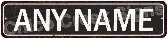 Any Name White on Black Distressed Personalized Man Cave Sign Metal 4180007