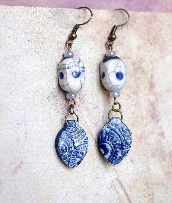 #Nautical #blue white #ceramic #earring #leaf #jewerly #raku #japanese style #artisan