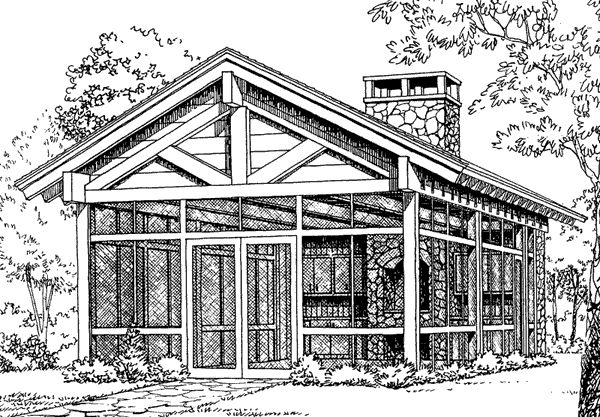 Plans for a screened in outdoor kitchen with a stone fireplace and flagstone floor. Gorgeous!