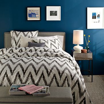 I already have Chevron in my bedroom bathroom in my accent pillows and bathroom rugs but I love this west Elm bedspread. I love it paired with the Peacock blue color too!:
