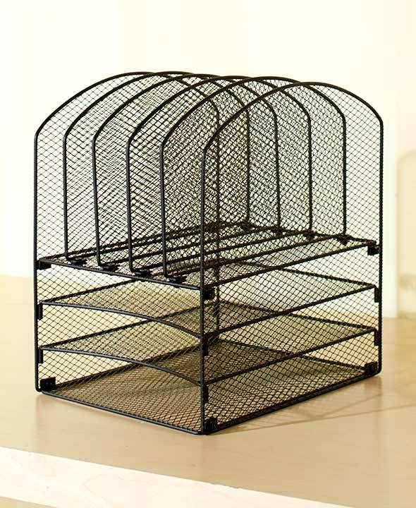 black mesh desktop file organizer tray 5 slots office supply desk storage holder