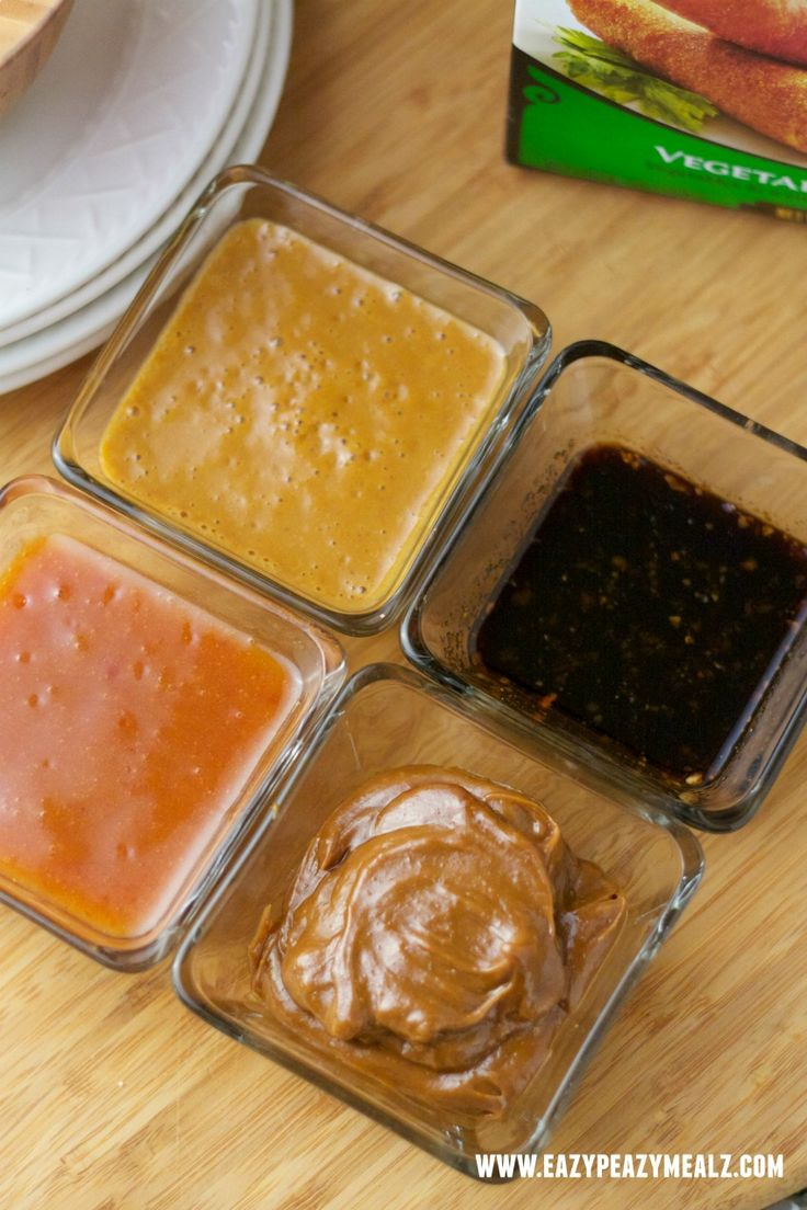 Asian Dipping Sauces - Eazy Peazy Mealz    5 different  different sauces for egg and spring rolls. GINGER SOY, SPICY PEANUT, SWEET AND SOUR, HOISON ALMOND AND SPICY MANGO    Full recioes