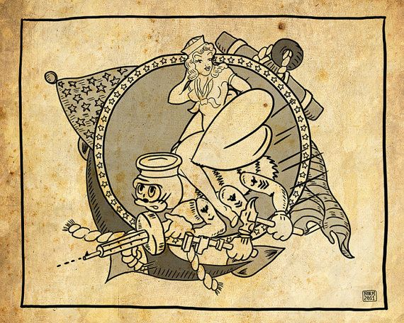 US Navy SeeBees Tattoo 8x10 Print UNFRAMED by Me on Etsy