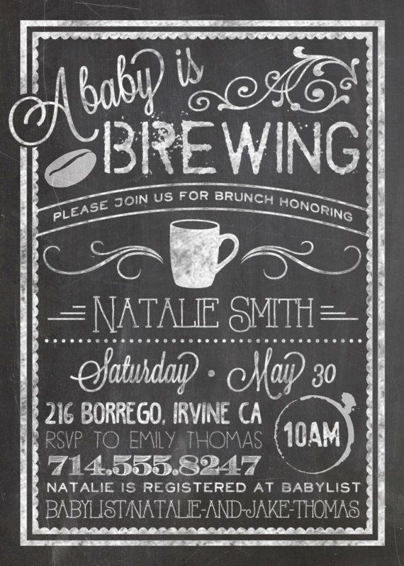CUSTOM Baby Shower Invitation Bistro/Coffee by dearkatedesigns
