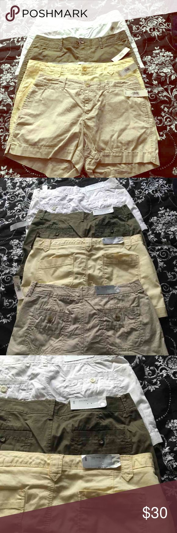 BUNDLE NWT shorts New with tags. Four pair of ladies shorts. All size 8. Old navy brand. Were $19.50 each. Green, white, yellow, tan. Short, shorts, women, ladies, girls, summer, spring. Bundle. Old Navy Shorts
