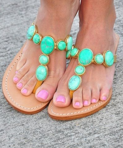 Love These - Turquoise Sandals