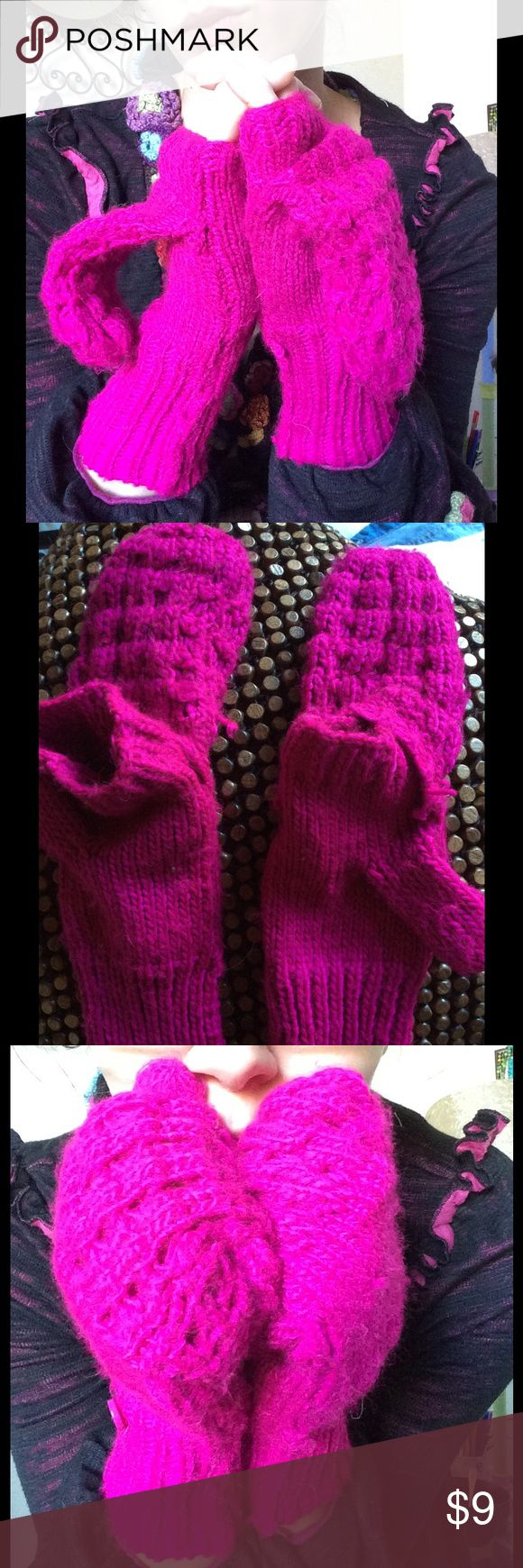 Fuscia Chilly Weather Mittens Knit Finger Hood Good condition. Smoke free home. No stains, rips or holes. Cute and cozy. Fun for road trip Gypsy travels. Bright color. Old Navy Accessories Gloves & Mittens