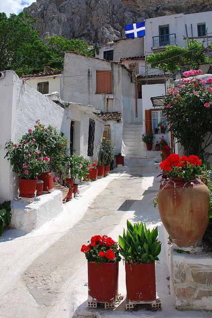 Plaka District at the base of Acropolis, Athens, Greece