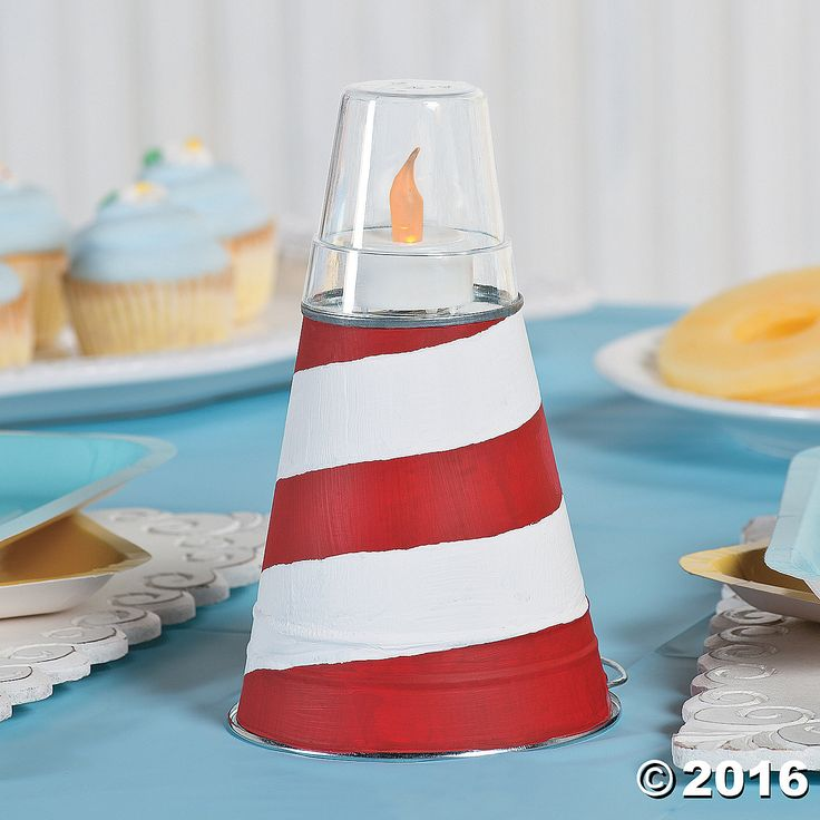 Nautical Baby Shower Lighthouse Centerpiece Idea - OrientalTrading.com