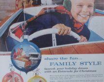 Publicité imprimée vintage des années 1950 pour calmes moteurs de hors-bord Evinrude