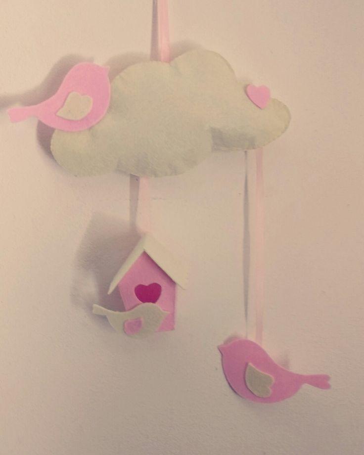 Fiocco nascita bimba, casetta uccellini,  rosa e bianca,  fatta a mano feltro e pannolenci.
