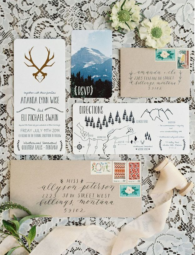 Even if you're not into the great outdoors, these invites would make you want to put on some hiking boots.