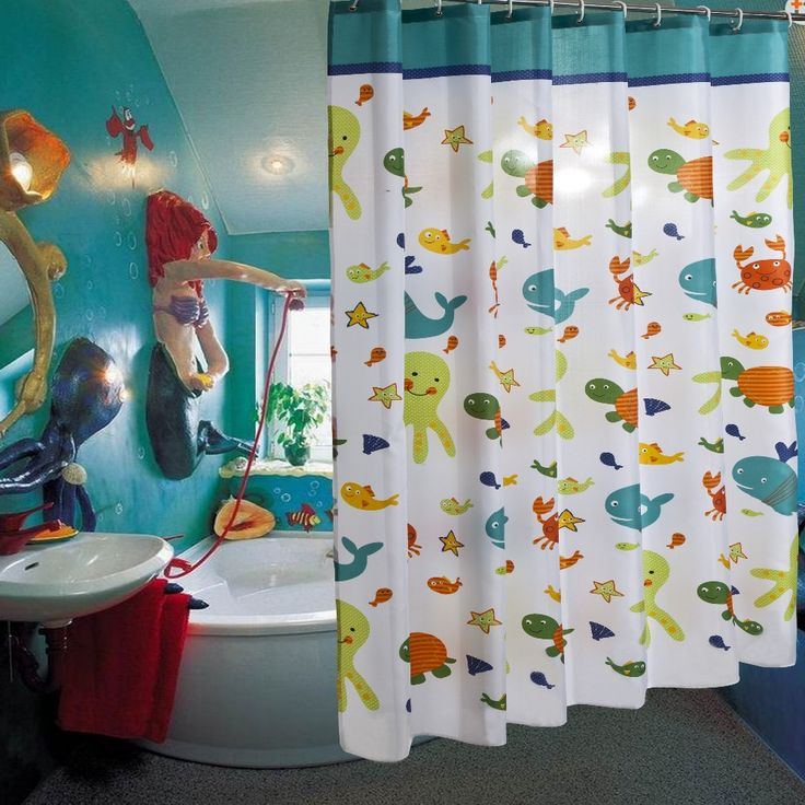 Child Cartoon Fish Tortoise Octopus Waterproof Polyester Shower Curtain Bathroom Use rideau de douche cortinas de bano #Affiliate
