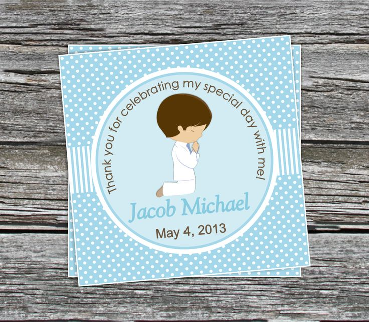 DIY Boys First munion Favor Tags Coordinating Items