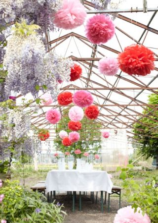 Paper pompoms wedding decor