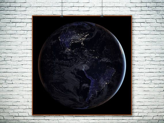 NASA full-hemisphere view of Earth at night.The Black